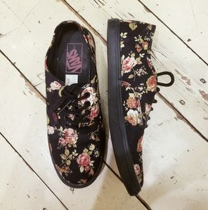 GUC Vans black floral sneaker.  Size 6.5